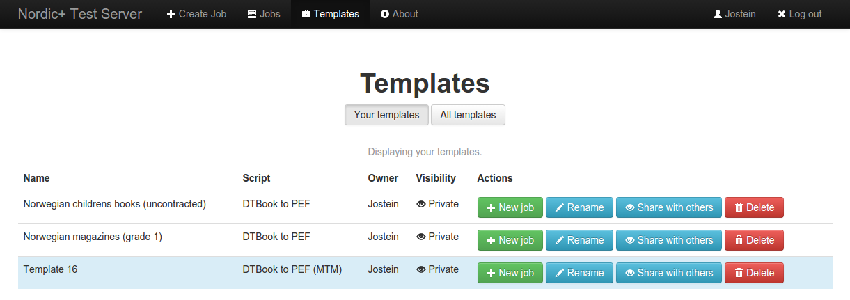 screenshot of template listing after having created a job as a template, where the new template is highlighted